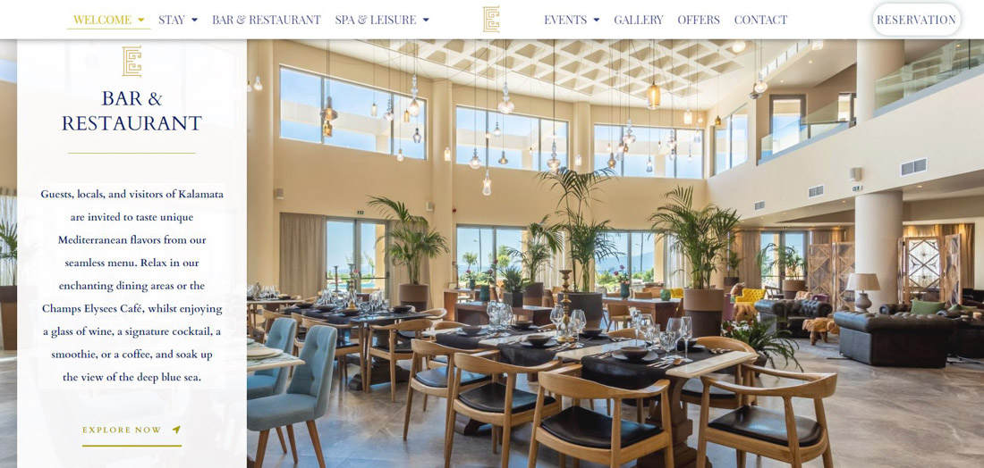 Portfolio image of a website page, created for a client's hotel. Image of a hotel's elegant restaurant with chairs, tables and plants, as well as a website's menu and logo.