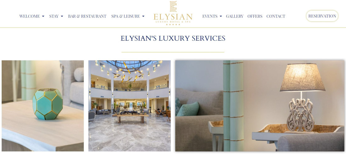 Portfolio image of a website page created for a client's hotel. Presentation of a collage of hotel's interior images such as lobby bar, decorative lamp and a vase, as well as a website's menu and logo.