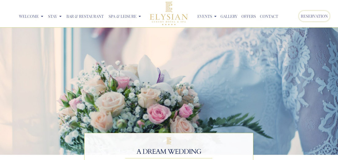 Portfolio image of a website page, created for a client's hotel. Presentation of a bride, holding a wedding bouquet, as well as a website's menu and logo.