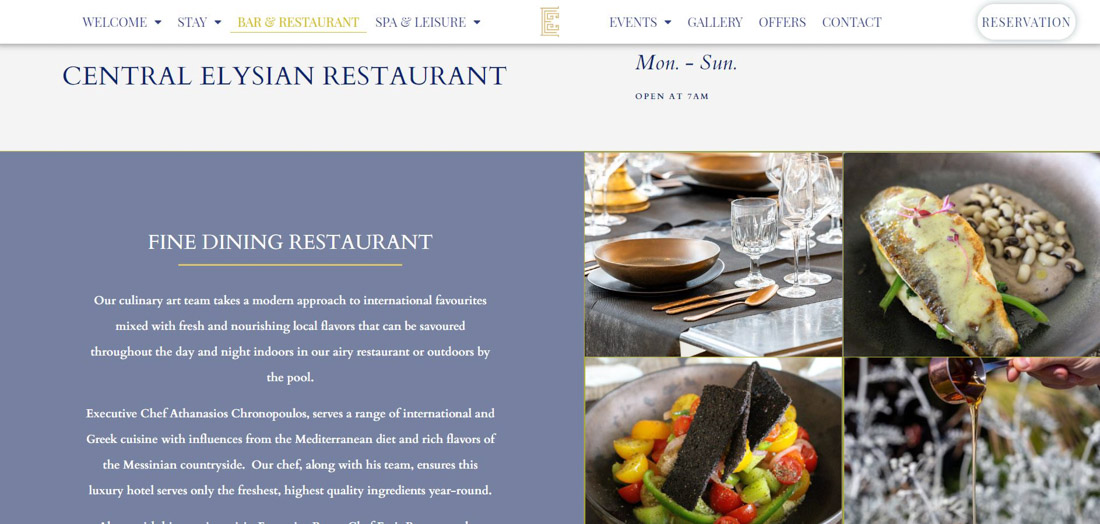 Portfolio image of a website page created for a client's hotel. Presentation of a collage of meals images and description of a restaurant, together with a website's menu and logo.