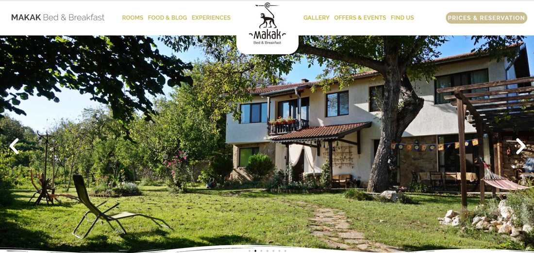 Portfolio image of a website page created for a client's hotel. Beautiful house with yard in greenery together with a website's menu and logo.