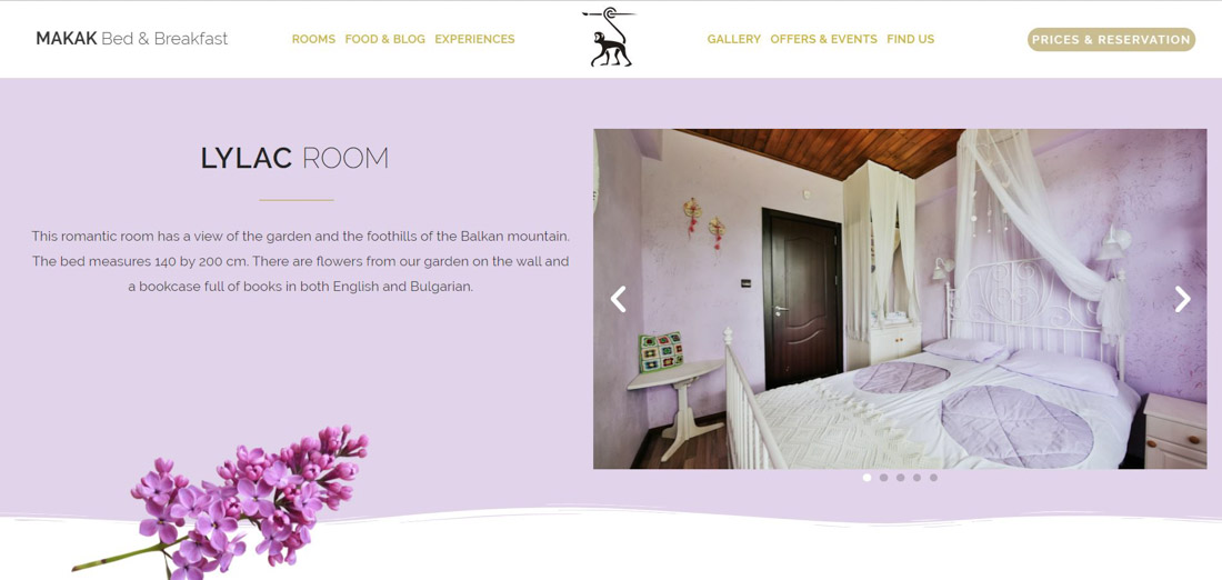 Portfolio image of a website page created for a client's hotel. Presentation of a lilac colour bedroom and a decorative lilac flower, together with a website's menu and logo.