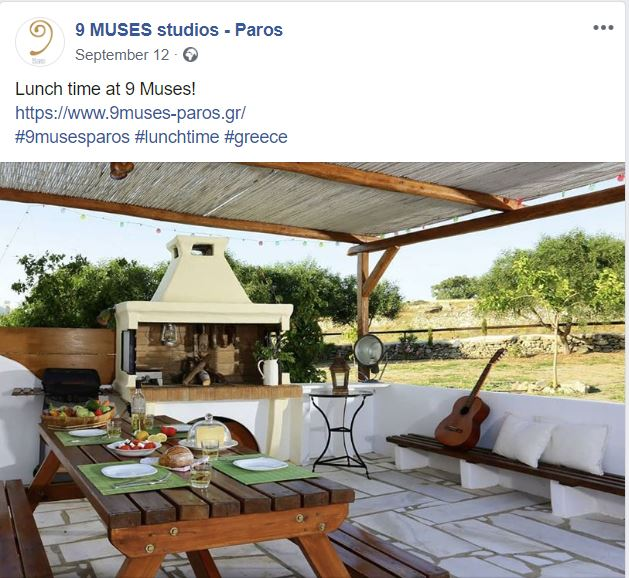 Facebook publication for a client. Shows part of the 9 Muses Paros Studios yard and barbecue area
