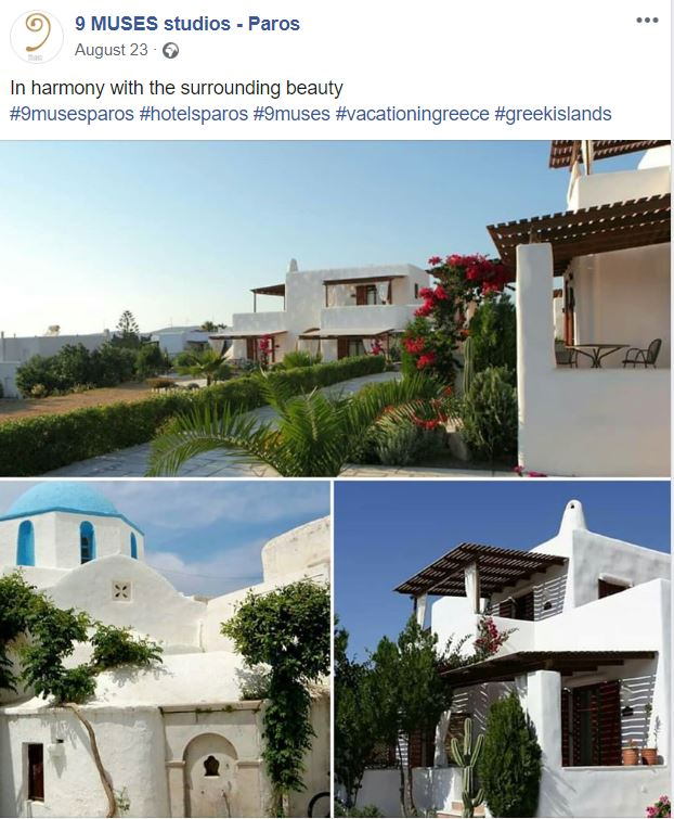 Facebook publication for a client. It shows images of the hotel, its garden and a church from the nearby village