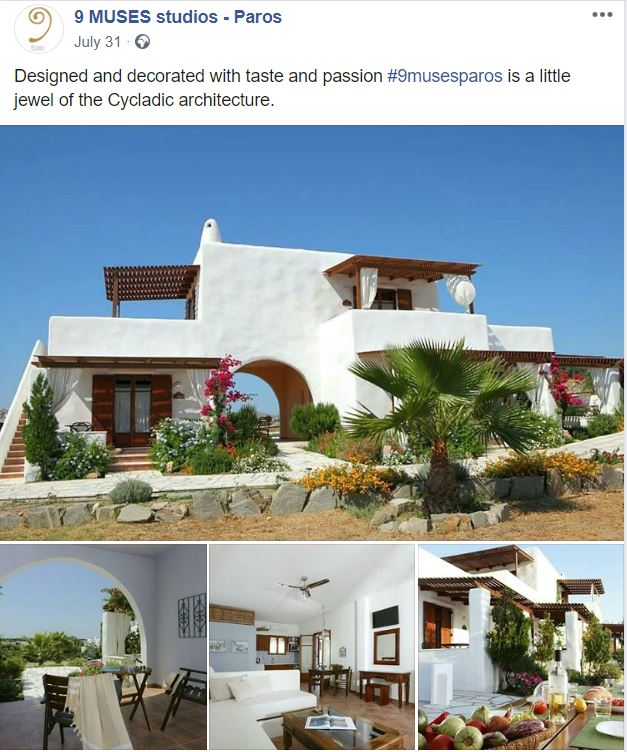 Facebook publication for a client. It shows images of the hotel, its garden and interior of studios with nice furniture.